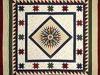 King Multicolor Mariners Compass Quilt