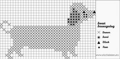 Free Sausage Dog cross stitch pattern For dachshund lovers