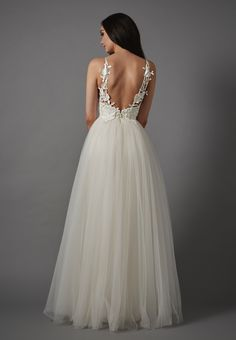 Melrose, Catherine Deane. Tulle ballgown with appliqué floral straps.