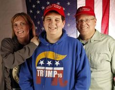 Paddy Olson, 13, is a huge Donald Trump fan. He and his parents, Kelly, left, and Allen, are headed to Washington, D.C. for the inauguration. Photo taken Jan. 17, 2017.