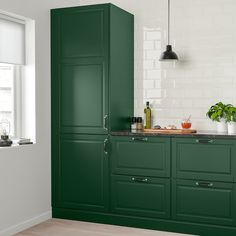BODBYN Door, dark green, BODBYN door has a frame and a bevelled panel that give it a distinct, traditional character. Soft dark green brings a cozy, warm touch to your kitchen. Dark Green Kitchen, Green Kitchen Cabinets, Navy Kitchen, Kitchen Colors, Kitchen Canisters, Island Kitchen, Kitchen Cabinetry, Kitchen Furniture, Kitchen Interior