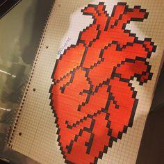Graph Paper Drawings, Graph Paper Art, Art Drawings, Pixel Art, Hama Beads, Disney Art, Christmas Tree Ornaments, Origami, Mosaic