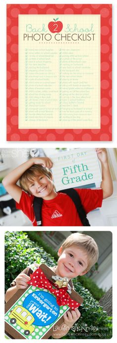 I can't forget to do these this year! Get a Free Photo Checklist + 5 FREE Printable Sets for First Day of School Pictures.