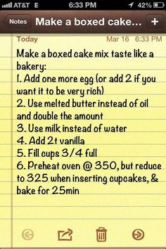 Make a boxed cake mix taste like a bakery cake(Yellow Cake Recipes) Box Cake Recipes, Cupcake Recipes, Cupcake Cakes, Dessert Recipes, Yellow Cake Recipes, Yellow Cake Cupcakes, Cake Mix Cupcakes, Cake Mix Desserts, Tres Leches Cake