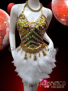 Charismatico Dancewear Store - CHARISMATICO Golden sequin Salsa Dance dress with rhinestones and white feathers, $185.00 (http://www.charismatico-dancewear.com/charismatico-golden-sequin-salsa-dance-dress-with-rhinestones-and-white-feathers/)