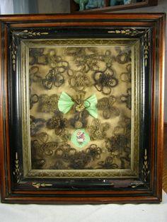 Antique Victorian Memorial Mourning HAIR WREATH - Deep Walnut Frame