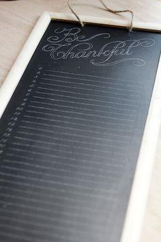 Chalkboard Gratitude Calendar-how to write on chalkboard with white marker