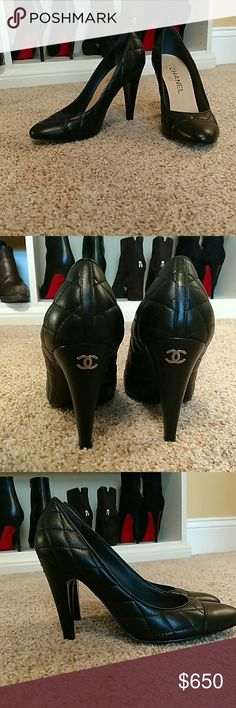 Chanel pumps Beautiful quilted Chanel pumps. They are size 38 and a half with an almond toe and quilting. The CC logo on the back of the heel in silver Hardware.  Gently used you can see the wear from the picture showing the soul. Into rific shape and looks like new. CHANEL Shoes