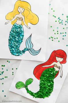 Coloring Pages Mermaid Coloring Pages - Mermaid Craft for Kids. This is a perfect activity for a Mermaid Party!Mermaid Coloring Pages - Mermaid Craft for Kids. This is a perfect activity for a Mermaid Party! Diy With Kids, Summer Crafts For Kids, Crafts For Boys, Toddler Crafts, Preschool Crafts, Fun Crafts, Art For Kids, Paper Crafts, Craft Kids