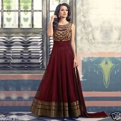 Indian Bollywood Ethnic Designer Anarkali Salwar Kameez Suit Traditional Dress in Clothes, Shoes & Accessories, Women's Clothing, Other Women's Clothing Designer Salwar Kameez, Designer Anarkali, Pakistani Party Wear Dresses, Indian Dresses, Indian Outfits, Anarkali Suits With Price, Maroon Gowns, Indische Sarees, Party Kleidung