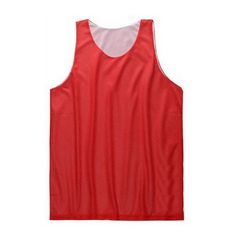 TopTie Men's Tank Top, Reversible Mesh Tank, Basketball Jerseys, Lacrosse Jersey-Red/White-XL