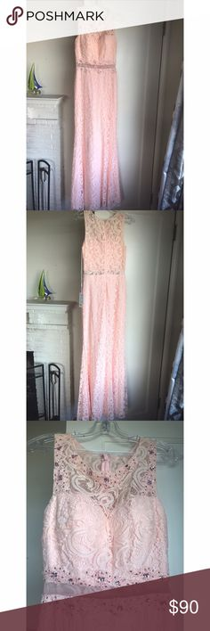 Blush pink lace formal dress Blush pink lace formal dress, never worn. See through back and crystal embellishments on front. Dresses Prom
