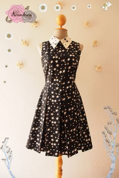 Hey, I found this really awesome Etsy listing at https://www.etsy.com/listing/226400212/star-shine-black-with-white-star-collar