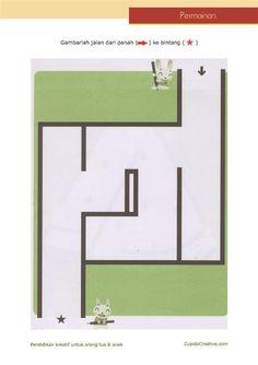 permainan anak untuk PAUD (balita/TK), gambar labirin/maze sederhana
