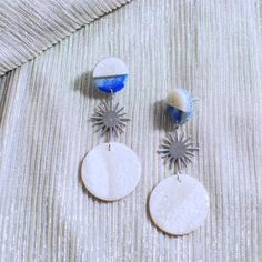 Items similar to Last Quarter // Silver Geometric Starburst Earrings // Statement Earrings Polymer Clay Earrings Dangle Earrings Retro Earrings on Etsy Statement Earrings, Silver Earrings, Dangle Earrings, Brass Jewelry, Jewelery, Starburst Earrings, Polymer Clay Earrings, Blue And Silver, Earrings Handmade