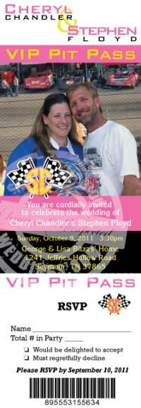 Our standard Racing Wedding Invitation package in the mold of a VIP Racing Pit Pass has everything you need for a NASCAR themed wedding.