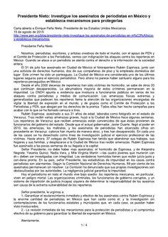 Carta abierta a Enrique Peña Nieto, Presidente de los Estados Unidos Mexicanos 15 de agosto de 2015 Presidente Nieto: Investigue los asesinatos de periodistas en México y establezca mecanismos para protegerlas p. 1/4