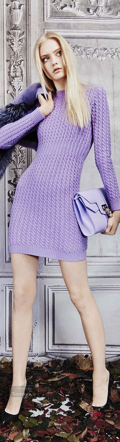 Philipp Plein ~ Lavender Long Sleeve Knit Mini Dress, Pre-Fall 2015.