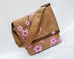 Cherry Blossom Messenger Bag with Hand Painted Cherry by Derilyn. Leather Working, Cherry Blossom, Messenger Bag, Coin Purse, Hand Painted, Wallet, Trending Outfits, Unique Jewelry, Handmade Gifts