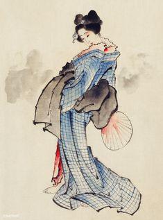 Posterazzi Woman full-length portrait Canvas Art - Hokusai Katsushika x Geisha, Art Occidental, Art Asiatique, Katsushika Hokusai, Art Japonais, Japanese Painting, Japanese Prints, Japan Art, Free Illustrations