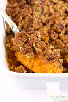 Sweet Potato Casserole is a southern classic. With a rich, buttery taste and crunchy topping, this sweet potato casserole recipe makes a perfect side dish or a dessert. Best Sweet Potato Casserole, Sweet Potato Souffle, Sweet Potato Pecan, Potatoe Casserole Recipes, Sweet Potato Recipes, Squash Casserole, Potato Pie, Rice Casserole, Chicken Casserole