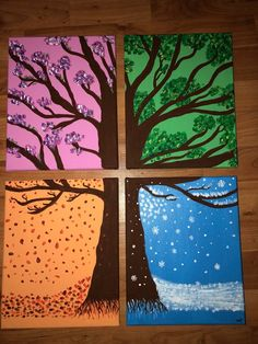 Four seasons tree - Best Art Projects 🎨 Winter Crafts For Kids, Spring Crafts, Kids Crafts, Art For Kids, Autumn Art Ideas For Kids, Fall Art Projects, Projects For Kids, Art Project For Kids, Class Projects