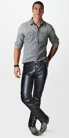 Denim shirt and leather jeans