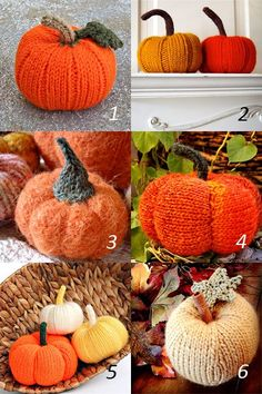 Six patterns for knitting pumpkins