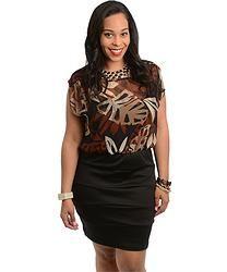 Black Sleeveless Sheer Woven Dress (Plus Size)