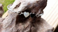 Sterling Silver Bracelet with Onyx and Mother by EclecticVintager