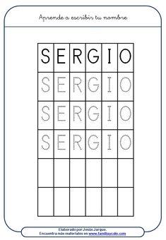 Fichas para aprender a escribir el nombre de Sergio