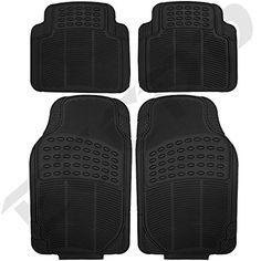 Eccpp 4pc Full Set Ridged Heavy Duty Rubber Floor Mats Universal Fit Mat For Car Suv Van Trucks Front Rear Driver Passenger Seat Black Car Acce