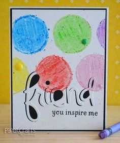 Dies do double duty when making crayon circles; Teri Anderson - Paper Crafts & Scrapbooking blog: make cards, crayons, friend