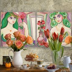"Portrait Painting of two nude women sisters girls Art Deco Still Life KSAVERA ""JEANNE"" diptych Green mid century modern girlfriend cubist by KsaveraART #TrendingEtsy"