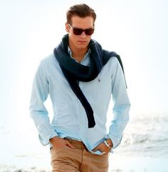 Tan chinos, light blue shirt and sweater