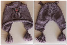"Название: «Вязание: Сова пути Hat ""New owl hat design. Flat knitting with seam. \""Ravelry: bloshka& Owl ways hat\"", \""Pletieme a háčkujeme pre detičky Diy Crafts Knitting, Knitting For Kids, Easy Knitting, Knitted Owl, Knitted Hats, Knit Crochet, Crochet Hats, Baby Patterns, Knitting Patterns"