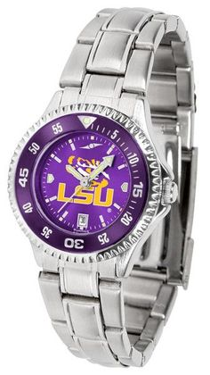 NCAA LSU Tigers-Competitor Ladies' Steel AnoChrome - Color Bezel