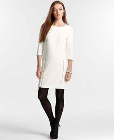 Ann Taylor Petite Zip Detailed Doubleweave Shift Dress