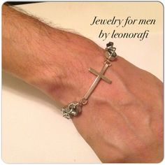 Bracelet for men by Jewelry for men by leonorafi, nuts with a large cross