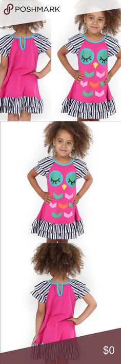 """Owl Dress Bright bold and full of fun. Owl dress for your little one. 100% cotton. Bright colors with comfort. The model chose to wear a polka dot wrap bracelet and her rain boots due to the weather. The model is a size 4, 3' 4"""". Dresses Casual"""