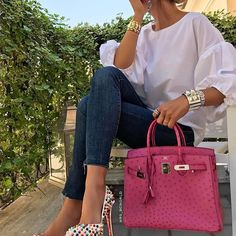 [Hermes Collection 24] Impeccable! Birkin in Ostrich, Collier De Chien Bracelet & Christian Louboutin Heels. by: @mrs_bcworld . ----------------------- Follow us to get your daily dose of Hermes!