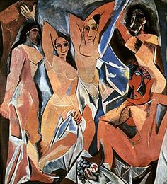 Pablo Picasso, 1907. Les demoiselles d'Avignon. oil on canvas. Museum of modern art, New York