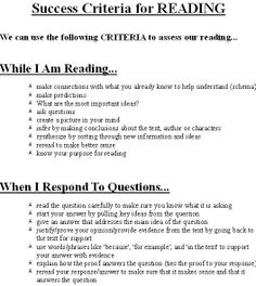 Success Criteria for Assessment For Learning, Learning Targets, Learning Goals, Formative Assessment, Learning Objectives, 2nd Grade Reading, Guided Reading, Teaching Reading, Success Criteria