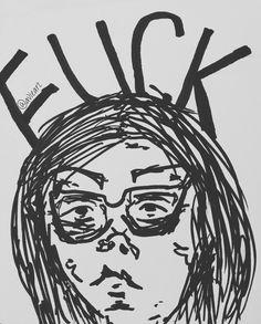 General attitude to life & living . . . #art #artist #sketch #doodle #drawing #scribble #follow #sad #emotive #emotion #life #attitude #black #pen #marker #black #white #portrait #face #fuck #swear #selfportait