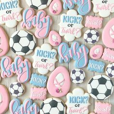 Kick or twirl? ⚽️ 💞 Such a cute gender reveal theme! Twin Gender Reveal, Gender Reveal Themes, Gender Reveal Party Decorations, Gender Reveal Invitations, Gender Party, Baby Gender Reveal Party, Gender Reveal Cookies, Baby Shower Sweets, Gender Announcements