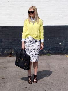 Black and white floral pencil skirt, yellow sweater, white button down shirt, black gladiator shoes and bag