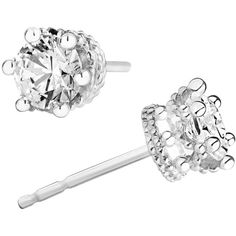 Swarovski Pure Brilliance Zirconia Tiara Stud Earrings in Sterling... ($50) ❤ liked on Polyvore featuring jewelry, earrings, white, sterling silver round earrings, white stud earrings, earring jewelry, sterling silver jewellery and white jewelry