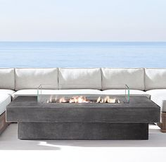 Great Laguna Concrete Natural Gas Fire Table  Rectangle