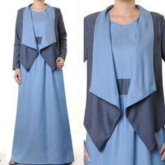 2 Tone Denim Cardigan Modest Abaya Long Sleeves Maxi by MissMode21, $26.00