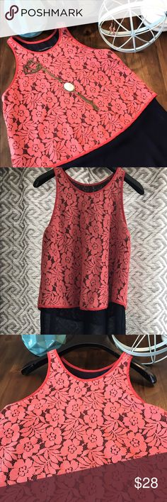 """SALE! French Connection Lace Overlay Tank, Size 0 French Connection Lace Overlay Tank, Size 0.  Sheer navy base tank with contrast trim and coral lace overlay shell.  Shoulder to hem is approximately 26"""". Cute fit! French Connection Tops Tank Tops"""